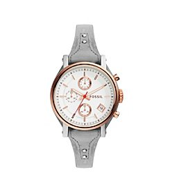 Fossil® Women's Original Boyfriend Watch In Rose Goldtone With Gray Leather Saddle Strap