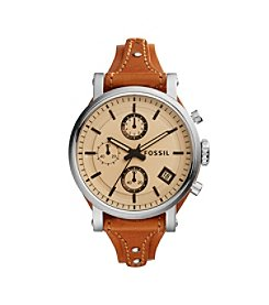 Fossil® Women's Original Boyfriend Watch In Silvertone With Dark Brown Leather Saddle Strap