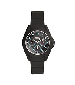 Fossil® Women's Poptastic Watch In Black With Silicone Strap