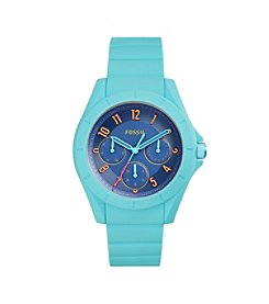 Fossil® Women's Poptastic Watch In Blue With Silicone Strap