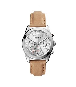 Fossil® Women's Perfect Boyfriend Watch In Silvertone With Light Brown Leather Strap