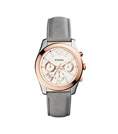 Fossil® Women's Perfect Boyfriend Watch In Rose Goldtone With Grey Leather Strap