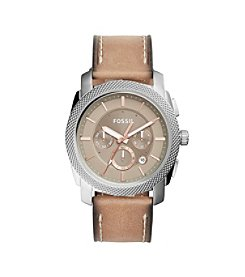 Fossil® Men's Machine Watch In Silvertone With Light Brown Leather Strap