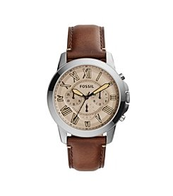 Fossil® Men's Grant Watch In Smoke Tone With Dark Brown Leather Strap
