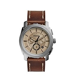 Fossil® Men's Grant Watch In Smoke Tone With Smoke Leather Strap