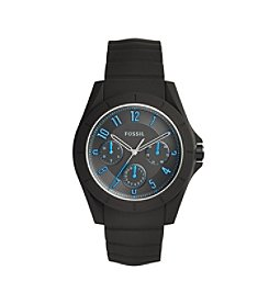 Fossil® Men's Poptastic Watch In Black With Silicone Strap
