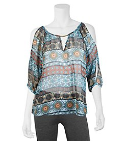 A. Byer Geometric Pattern Cold Shoulder Peasant Top