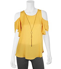 A. Byer Ruffle Sleeve Cold Shoulder Top With Necklace