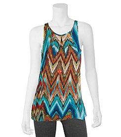 A. Byer Chevron Print Tank With Necklace
