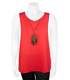 A. Byer Plus Size Flutter Back Tank With Necklace