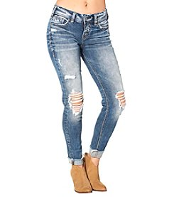 Silver Jeans Co. Suki Mid Rise Cuffed Skinny Ankle Jeans