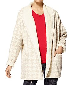 HUE® Printed Fleece Cardigan Robe