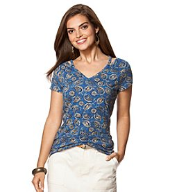 Chaps® Jersey Knit Baha Medallion Top