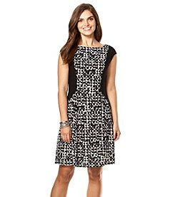 Chaps® Printed Fit-And-Flare Dress