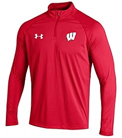 Under Armour® NCAA® Wisconsin Badgers Men's Stripe Quarter Zip Pullover