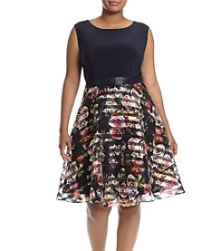 S.L. Fashions Plus Size Navy Organza Skirt Dress