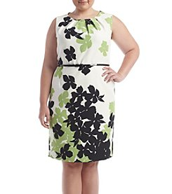 Nine West® Plus Size Floral Print Twill Sheath Dress