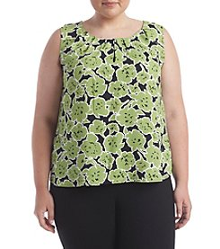 Nine West® Plus Size Floral Print Pleat Neck Cami