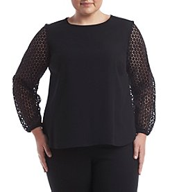 Nine West® Plus Size Crepe Lace Sleeve Top