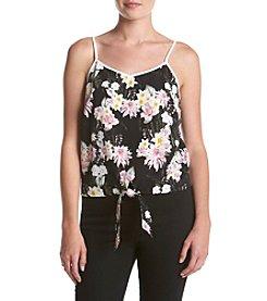 Kensie® Botanical Floral Print Tie Front Tank