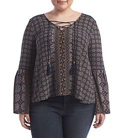Skylar & Jade™ Plus Size Printed Crepe Lace-Up Peasant Top