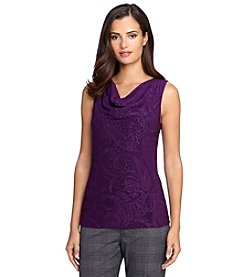 Tahari ASL® Textured Drape Neck Knit Top