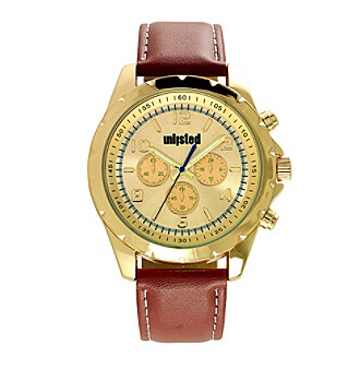 Unlisted by Kenneth Cole® Men's Goldtone with Brown Strap Watch