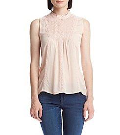 Jolt® High Neck Sleeveless Lace Tank Top
