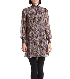 Be Bop Smock Neck Floral Shift Dress