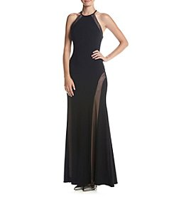 Morgan & Co.® Illusion Panel Long Gown