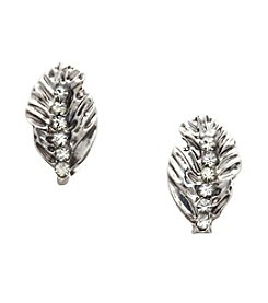 Vera Bradley® Silvertone Feathers Stud Earrings