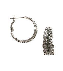 Vera Bradley® Silvertone Feathers Hoop Earrings