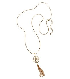 Vera Bradley® Goldtone Signature Long Tassel Necklace