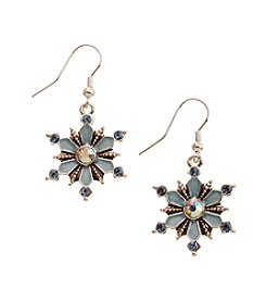 Studio Works® Silvertone Snowflake Drop Earrings With Faux Crystal And Sapphire