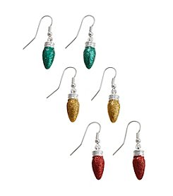Studio Works® Silvertone Multi Colored Glitter Bulbs Trio Earrings