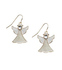 Studio Works® Goldtone Angel Earrings With Crystal Bead Stone