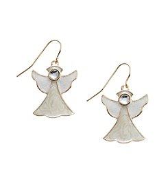 Studio Works® Goldtone Angel Earrings With Crystal Bead Stone