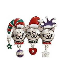 Studio Works® Silvertone Trio Cat Pin With Multi Colors And Stones