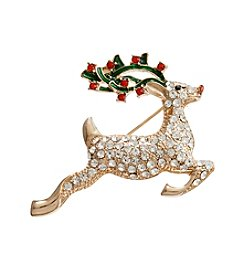 Studio Works® Goldtone Reindeer Pin With Faux Crystal And Siam Stones