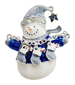 Studio Works® Silvertone Multi Glitter Snowman Pin With Stockings