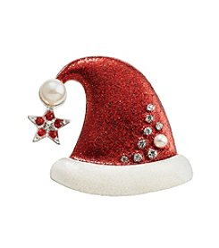 Studio Works® Silvertone Santa Hat Pin With Siam And Crystal Stones