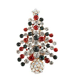 Studio Works® Goldtone Christmas Tree Pin With Stones