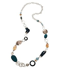 Laura Ashley® Silvertone Multi Beaded Long Necklace