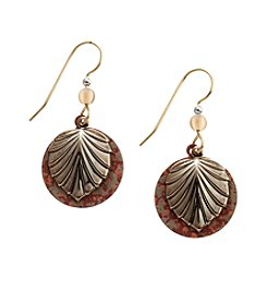 Silver Forest® Goldtone Leaf On Multicolor Circle Earrings