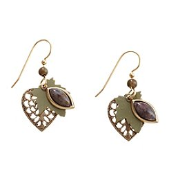 Silver Forest® Goldtone Leaf With Pietersite Stone Earrings