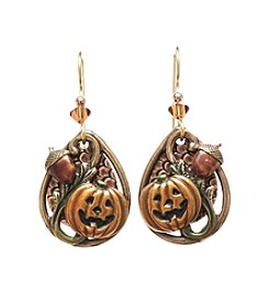 Silver Forest® Goldtone Jack-O-Lantern With Acorn Earrings