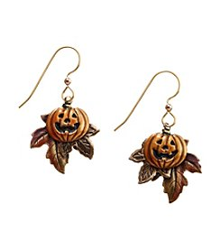 Silver Forest® Goldtone Jack-O-Lantern On Leaf Earrings