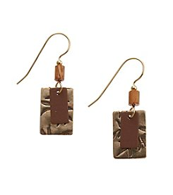 Silver Forest® Goldtone Double Rectangles Earrings