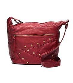 GAL Washed Elephant Grain Studded Hobo Crossbody