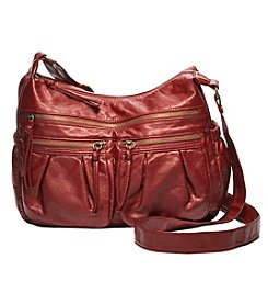 GAL Pearlized Washed Multi Pocket Hobo Crossbody